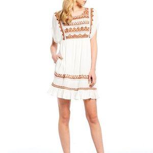 Free People Sunrise Wanderer Smocked Dress White M